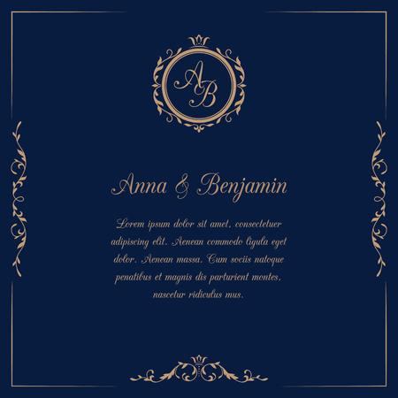 Invitation card with monogram. Wedding invitation, Save The Date. Vintage invitation template. illustration