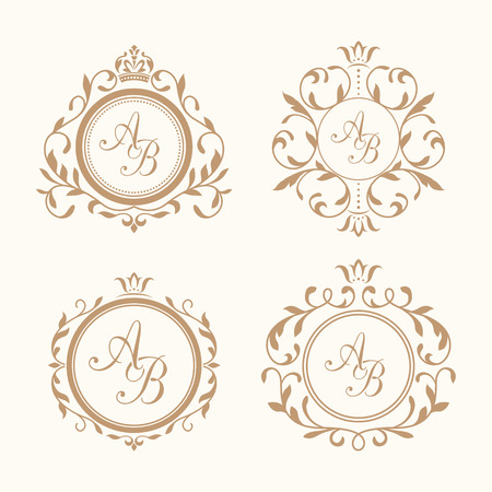 wedding border: Set of elegant floral monogram design templates for one or two letters . Wedding monogram. Calligraphic elegant ornament. Monogram identity for restaurant, hotel, heraldic, jewelry.