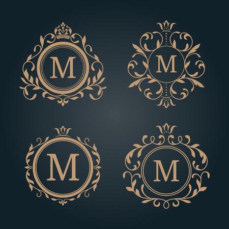 エレガントな花柄モノグラム デザイン テンプレートのセット。結婚式のモノグラム。カリグラフィのエレガントな飾り。レストラン、ホテル、紋章