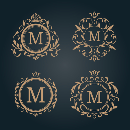Conjunto de modelos florales elegantes de diseño monograma. monograma de la boda. ornamento elegante caligráfico. la identidad del monograma para restaurante, hotel, heráldico, joyería.