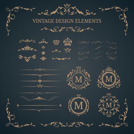 装飾的な要素のビンテージ セット。結婚式のモノグラム。書道の優雅な装飾品。