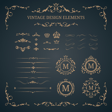 Vintage set of decorative elements. Wedding monograms. Calligraphic elegant ornaments. Ilustracja