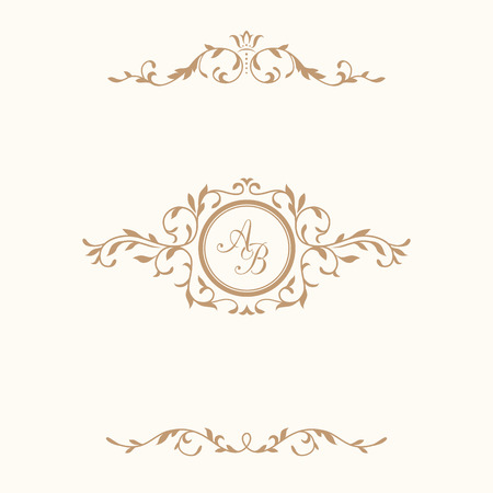 Elegant floral monogram design template and decorative elements. Wedding monogram. Calligraphic elegant ornament. Business sign, monogram identity for restaurant, boutique, hotel, heraldic, jewelry.
