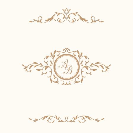 Elegant floral monogram design template and decorative elements. Wedding monogram. Calligraphic elegant ornament. Business sign, monogram identity for restaurant, boutique, hotel, heraldic, jewelry.