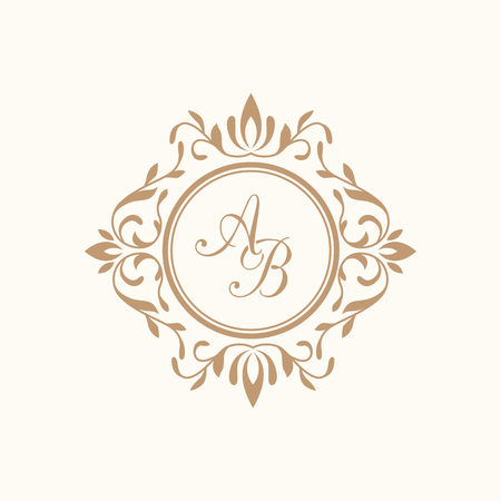 outline wedding: Elegant floral monogram design template for one or two letters . Wedding monogram. Calligraphic elegant ornament. Business sign, monogram identity for restaurant, boutique, hotel, heraldic, jewelry. Illustration