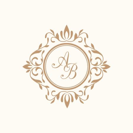 Plantilla elegante del monograma del diseño floral para una o dos letras. Monograma de la boda. Ornamento elegante caligráfico. Rótulo de establecimiento, la identidad monograma para restaurante, hotel boutique, heráldico, joyería.