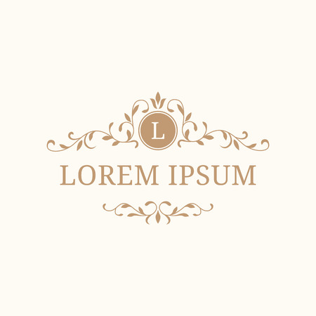 Elegant floral monogram design template with decorative elements. Wedding monogram. Calligraphic elegant ornament. Business sign, monogram identity for restaurant, boutique, hotel, heraldic, jewelry.