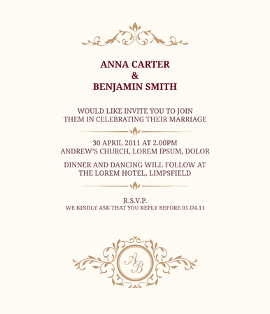 モノグラムの招待状。結婚式の招待状、日付。ビンテージの招待状のテンプレートです。  イラスト・ベクター素材