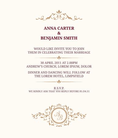 hochzeit: Einladungskarte mit Monogramm. Einladung zur Hochzeit, sparen das Datum. Vintage-Einladungsschablone.