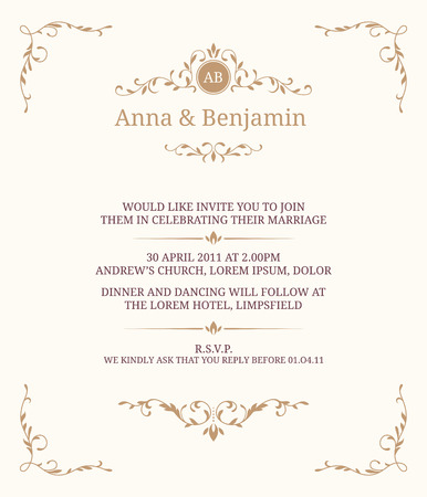 wedding border: Invitation card with monogram. Wedding invitation, Save The Date. Vintage invitation template.