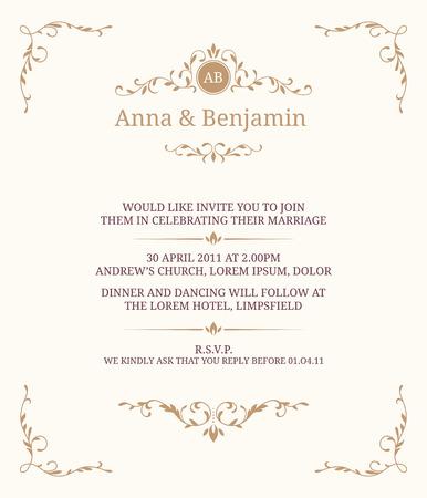 Tarjeta de invitación con monograma. invitación de la boda, ahorra la fecha. Modelo de la invitación de la vendimia. Foto de archivo - 57125183