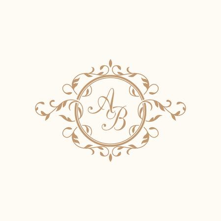 Elegante bloemen monogram design template voor één of twee letters. Huwelijk monogram. Kalligrafische elegante ornament. Uithangbord, monogram identiteit voor restaurant, boutique, hotel, heraldisch, sieraden. Stockfoto - 57125275