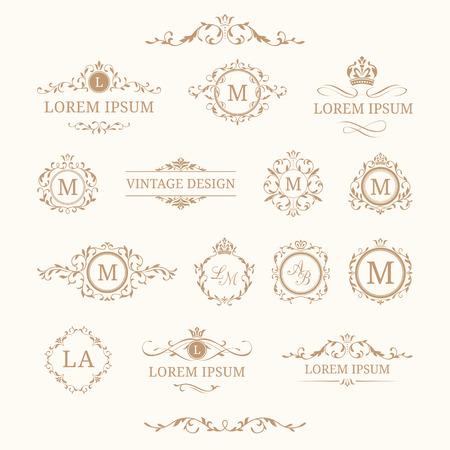 エレガントな花柄モノグラムとボーダーのセット。招待状、メニューのラベル用のテンプレートを設計します。結婚式のモノグラム。レストラン、  イラスト・ベクター素材