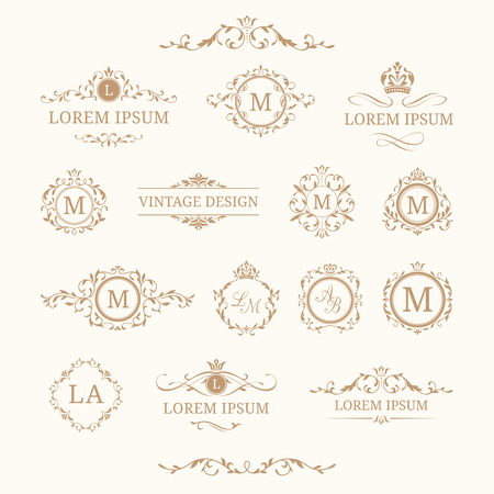 Set of elegant floral monograms and borders. Design templates for invitations, menus, labels. Wedding monograms. Monogram identity for restaurant, hotel, heraldic, jewelry.