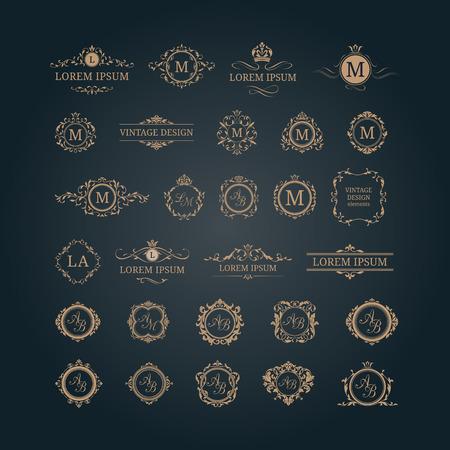 Ensemble de monogrammes et bordures florales élégantes. modèles de conception pour les invitations, menus, étiquettes. monogrammes de mariage. identité de monogramme pour le restaurant, hôtel, Héraldique, bijoux. Vecteurs
