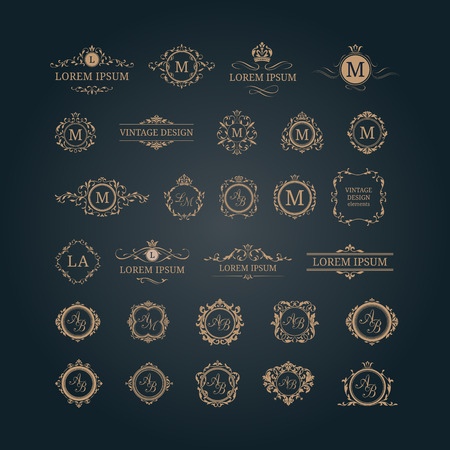 Set di monogrammi floreali eleganti e confini. modelli di progettazione per gli inviti, i menu, le etichette. monogrammi di nozze. identità Monogram per ristorante, hotel, araldico, gioielli. Vettoriali