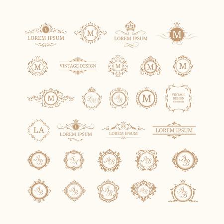 Conjunto de monogramas florales elegantes y bordes. Las plantillas de diseño para las invitaciones, menús, etiquetas. monogramas de la boda. la identidad del monograma para restaurante, hotel, heráldico, joyería.