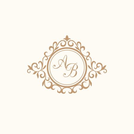 Elegant floral monogram design template for one or two letters . Wedding monogram. Calligraphic elegant ornament. Business sign, monogram identity for restaurant, boutique, hotel, heraldic, jewelry. Stock Photo