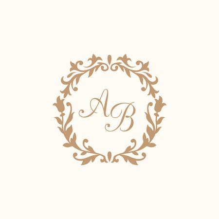 Elegant floral monogram design template for one or two letters . Wedding monogram. Calligraphic elegant ornament. Business sign, monogram identity for restaurant, boutique, hotel, heraldic, jewelry. Ilustrace