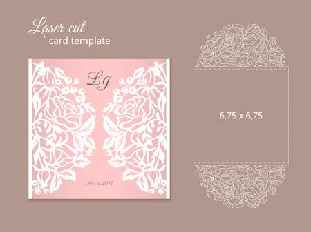 Plantilla de tarjeta de invitación de corte por láser Ilustración de vector