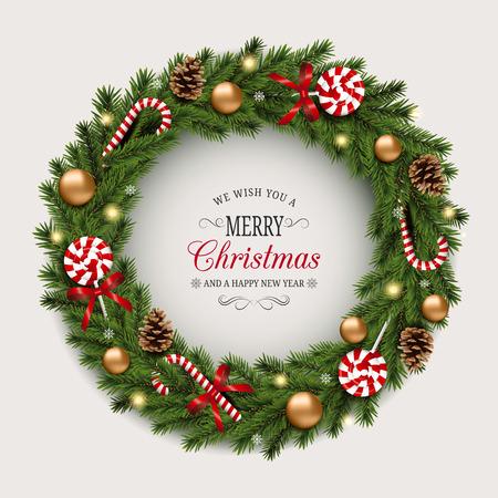 Ghirlanda di Natale con bastoncini di zucchero