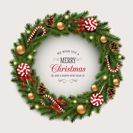 Weihnachtskranz mit Zuckerstangen