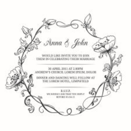 Elegant foral frame, monogram, wedding invitation template