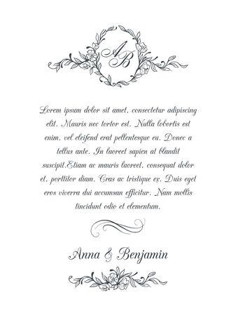 Hochzeitseinladung mit Blumenmonogramm