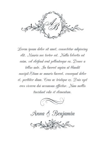 Wedding invitation with floral monogram