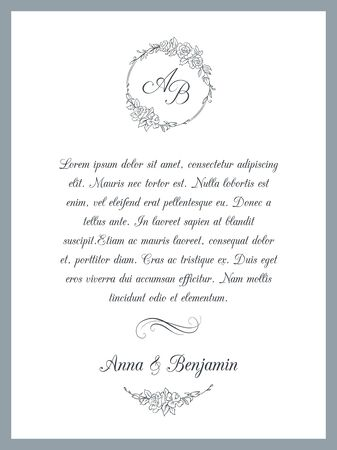Wedding invitation with floral monogram