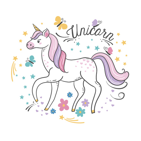 Beautiful unicorn with butterflies, stars and flowers