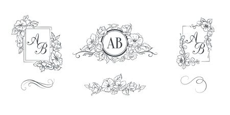 Set of elegant floral monograms Stock Illustratie