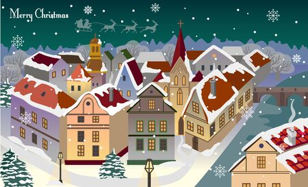 Vector Christmas card with a snowy old town