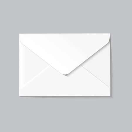 White envelope on grey background, realistic mockup.