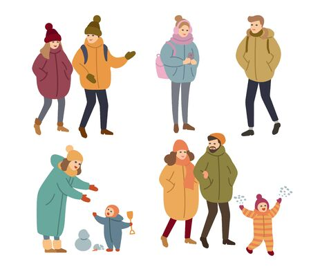Set of people outdoor in winter clothes. vector illustration Illusztráció