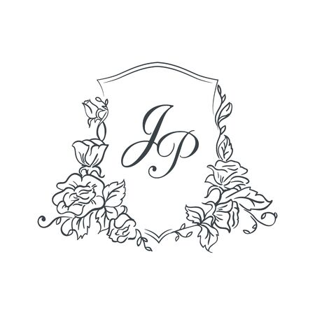 Vintage monogram template, vector illustration