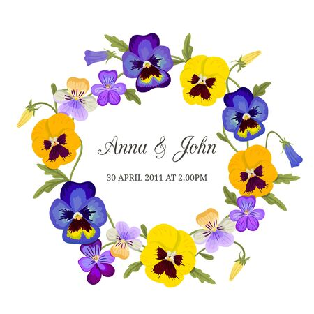 Elegant floral monogram design tamplate. Floral frame with pansy flowers.