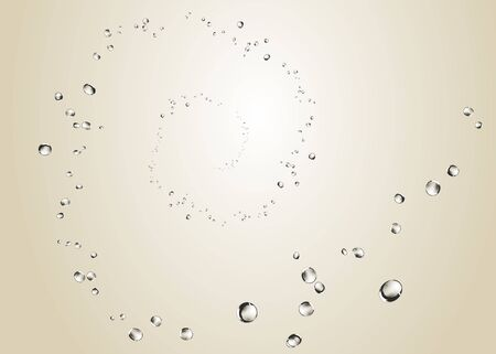 Abstract water bubbles, spiral rising on a clear background. Illustration