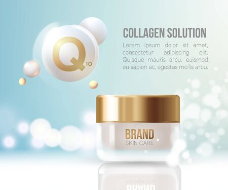 Regeneration cream.Water. Coenzyme Q10. Collagen Serum and Vitamin Background Concept Skin Care Cosmetic.Container mockup, cosmetic bottle package,bank.Elegant Background. Ilustracja