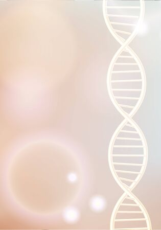 Golden DNA structure vector background. Beauty skin care luxury cosmetics concept. Molecular structure. 3D . Blurred bright bokeh background.  イラスト・ベクター素材