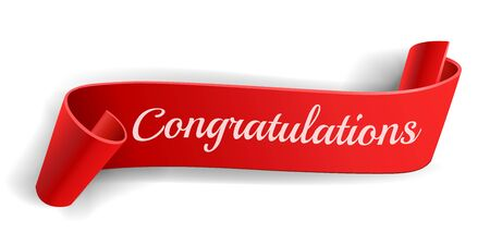 Realistic curved, Red paper banner on white background.Congratulations. Greating card.Blank. Red ribbon. Paper scroll.