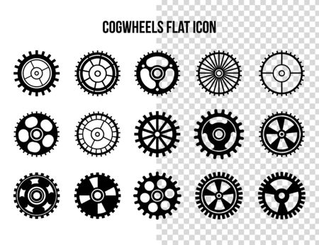 Cogwheel flat machine gear icon. Set of black machine gear on a white background: wheel cogwheel vector, set of gear wheels, collection of vector gear