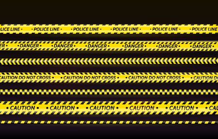 Black and yellow stripes set. Warning tapes. Danger signs. Caution,STOP,Under construction,Barricade tape, scene barrier tape. Vector flat style cartoon illustration