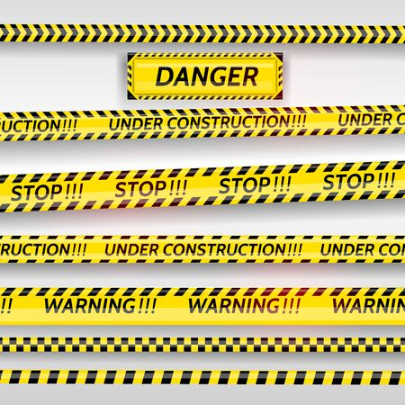 Black and yellow stripes set. Warning tapes. Danger signs. Caution ,Barricade tape, stop, under construction scene barrier tape. Vector flat style cartoon illustration Ilustracja