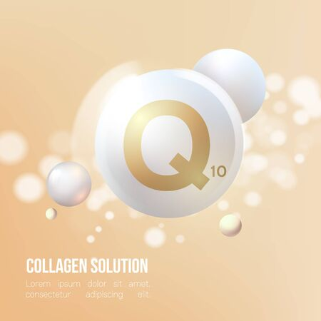 Coenzyme Q10.Regeneration. Collagen Serum and Vitamin Background Concept Skin Care Cosmetic.Elegant and stylish Background.