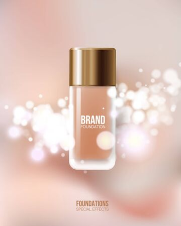 Container mockup. cosmetic glass bottle package,bank. Foundation beige liquid .Cosmetic make up. Vetores