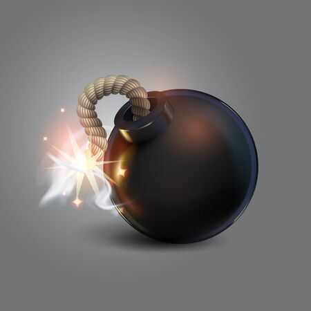 Black Bomb with sparks.realistic bomb 3D. Cartoon. Dark background ,icon, abstract illustration.festive light clouds