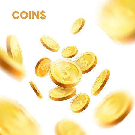 Explosion.coins realistyczne złote monety ustawione w różnych pozycjach. Na białym tle. wektor