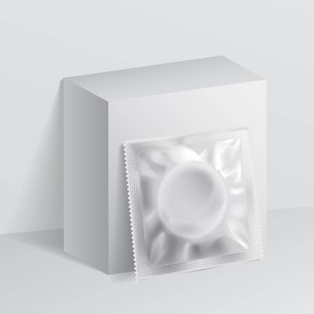 Plantilla en blanco realista Embalaje Lámina toallitas húmedas Bolsa Medicina o condón. Plantilla para simular su diseño. ilustración vectorial.
