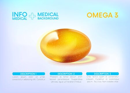 Fish fat. Omega 3,6,9. gold shining icon. Medical Infographics.Ascorbic acid. Shining golden substance drop. Nutrition skin careMedicalBeauty Vector illustration